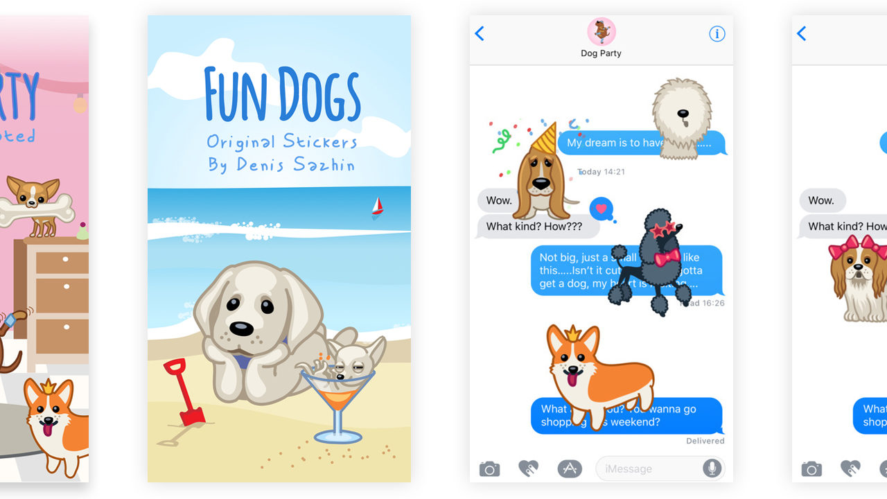 Best Dog iMessage Stickers #1 – Dog Party