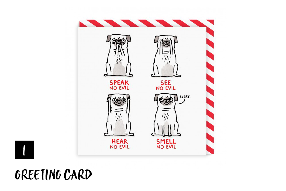 Gemma Correll – Pug Greeting Card