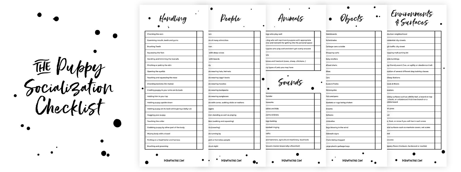 Puppy Socialization Checklist by DisruptiveDog