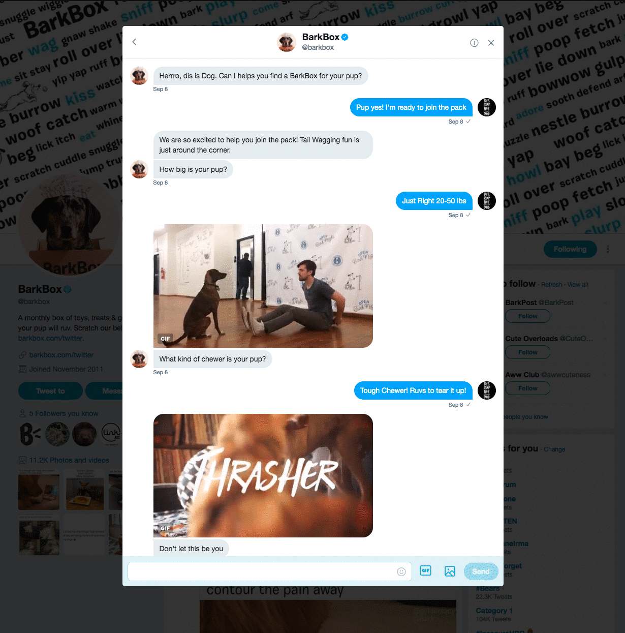 BarkBox Dog Chatbot on Twitter